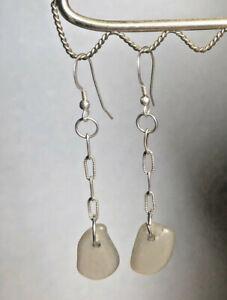 Sea Glass & Sterling Chain Earrings