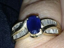 14 Kt. Gold Sapphire and Diamond Ring Size 7