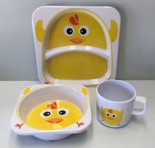 ZAK DESIGNS CHICK CHICKEN KIDS MELAMINE DINNER PLATE & BOWL & CUP