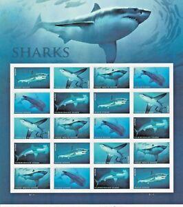 Sharks Souvenir Sheet of 20 Forever Stamps. Great White Hammerhead Mako Thresher