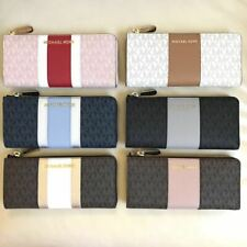 93eb0c6c83e8 NWT Michael Kors 3/4 There Quarter Zip Center Stripe PVC Wallet Various  Color
