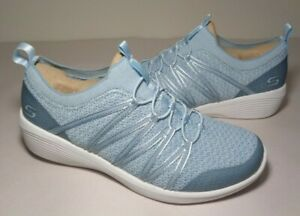 Skechers Size 8 ARYA Blue Slip On Wedge Memory Foam Sneakers New Women's Shoes