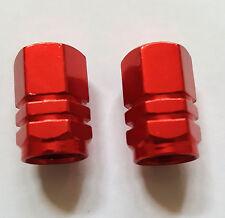 2 RED  x SCHRADER VALVE CAP LIGHT ALUMINIUM DUST CAP - MOUNTAIN BIKE/BMX/CAR
