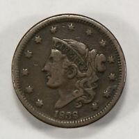 1838 1c Coronet Head Large Cent - Fine Details - SKU-Y2561