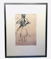 Vintage Edgar Degas Ballerina Drawing Lithograph MID CENTURY Modern Art ERA