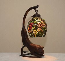 "18.5""H Cat/ Grape Vine Stained Glass Handcrafted Table Desk Lamp Night Light !"