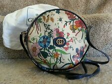 GUCCI Vintage handbag Flora White Leather Navy Trim Gold Accents