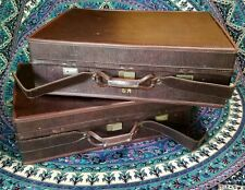 "Vintage Hartmann Luggage High-End Belting Suitcases 26"" & 25"" mahogany brown"