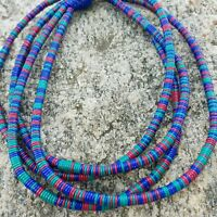 Boho Long Statement Necklace Teal Blue Pink Plastic Beads 2-4 Stands Convertible