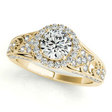 Solid 14K Yellow Gold 6 7 8 1.30 Ct Round Cut Moissanite Women Engagement Ring