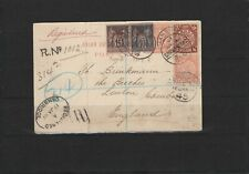 coiling dragons, French mail in China, Shanghai to GB, 1901, registered postcard