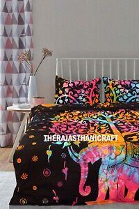 Indian Elephant Tree of Life Handmade Doona Comforter Duvet Cover Queen Bed Set
