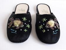 Pearl River sedoso-Slipper negro con perlas de vidrio pescado bordado 41/10 motivo nuevo