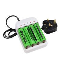 4X 18650 Batteries 2400mAh 3.7V Li-ion Rechargeable Battery&UKPlug Fast Charger