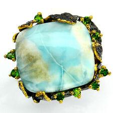 925 Sterling Silber Design-Ring, Natürliche Juwel fine art 20 x 18 mm. Larimar