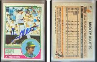 Mickey Klutts Signed 1983 Topps #571 Card Oakland Athletics Auto Autograph