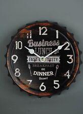 Metal Clock Vintage Style Lunch Breakfast Dinner & Desert Bottle Top Metal black