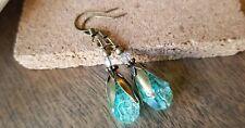 Crackle glass beads Earrings Drop Dangle Bronze Filigree Aqua mermaid mystical