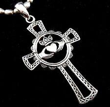 Solid 925 Sterling Silver Celtic Knot Irish CLADDAGH ANKH Cross Pendant