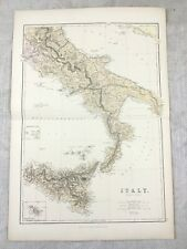 1882 Antique Map of Italy Sicily Southern Region Old Original 19th Century