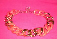 Women's Fashion Necklace - Fluoro Orange & Gold-Tone Large Chain Link.
