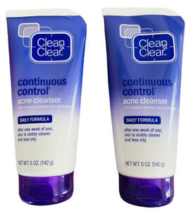 Clean & Clear Continuous Control Benzoyl Peroxide Acne Face Wash 5 oz (2 Pack)