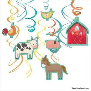 FARM BARNYARD Party Birthday Danglers Swirl Hanging Decorations Animals 12 PCS