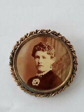 gold toned brooch Antique original photo