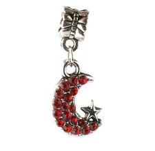 925 Silver CZ Moon and stars pendant Fit European Charm Bead Bracelet A#144