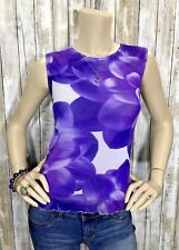 Weston Wear Large Purple White Floral Sleeveless Shirt Lined Retro Mod Tank Top