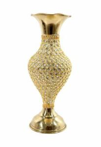 Hand Crafted Metal Brass Flower Vase with Beads for Home Decoration 10 Inch GOLD