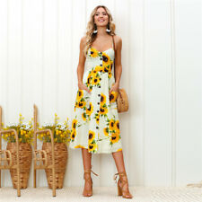 Women Holiday Off Shoulder Floral Sundress Casual Beach Party Sleeveless Dress