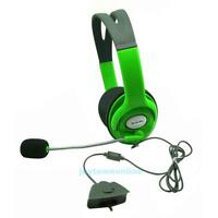 Green Gaming Headset Earphone Headphone w/ Mic for Xbox 360 Live Elite Slim New