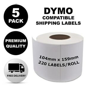 5 Pack Dymo Compatible 4XL S0904980 Shipping Labels 104x159mm [Regular Post]