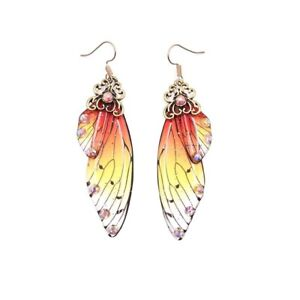 Fairy Simulation Insect Butterfly Wing Drop Earring Romantic Bridal Jewelry Gold
