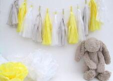 Baby Shower Tassel Garland. Yellow, Grey and White. First Birthday, Christening