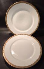 (1833G) 2 Fine China Dinner Plates Schumann Germany HOFLIEFERANT Gold Rim Ivy