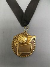 "gold victory Volleyball medal with black neck drape trophy award 2""  diameter"