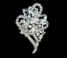 RHINESTONE WHITE FLOWER HEART CORSAGE BROOCH PIN~MOTHERS DAY GIFT FOR HER MOM