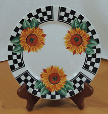 SUNNY by Tabletops Unlimited Sunflowers Black Checkered Border Saled Plate 7 1/2