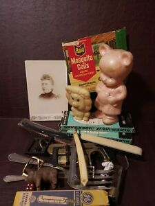 Junk Drawer Lot Vintage Toys Razors Scales Buckles & More