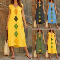 Women Summer Sleeveless V-Neck Cotton & Linen Geometric Casual Long Maxi Dress