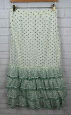 Anthropologie Lil 6 Green White Leaf Print Long Tiered Cotton Skirt
