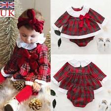 Newborn Baby Kids Girls Outfits Xmas Plaid Dress + Shorts Pants Clothes Set UK