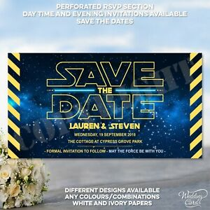 Star Wars Save the date Han & Leia Wedding Invitation Personalised Invite Card