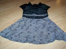 Girls Size 4 Youngland Black White Houndstooth Floral Print Dress Velour Bodice