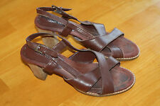 WOMENS NINE WEST BROWN LEATHER STRAPPY SANDALS SIZE 8