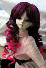 Doll Wig Long Layered Curly Maroon, Pink BJD Ball Jointed Size 7, 8, 9, 10 NEW
