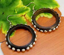 Black Wooden Handmade Tribal Round Boho Ebony Wood Danglers Earrings EAR1096