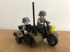 2 german WW2 army minifigures with motor and side car